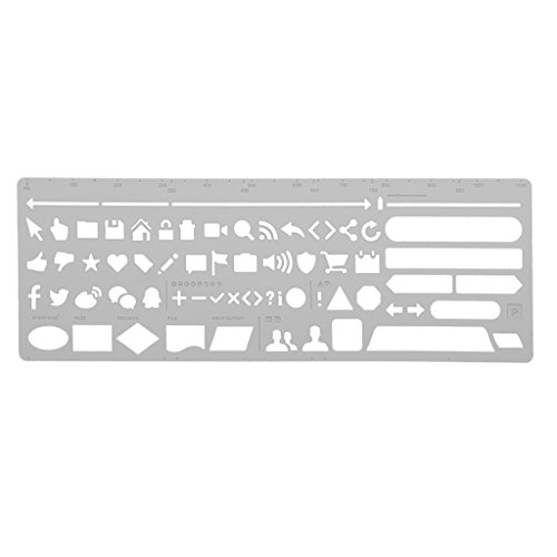 NF&E Symbols Template Ruler Drafting Drawing Stencil for DIY Craft Tool Kids Toys Silver