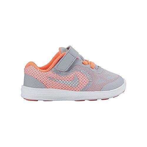 Nike Revolution 3 (TDV), Stivaletti bambine Multicolore Amarillo / Plateado / Gris (Brght Mango / Mtllc Slvr-Wlf Gry) 25