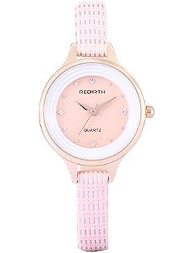 Roségold Frauen elegante Strass Quarzuhr Art und Weise nette rosa Lederarmband Uhr plattierte