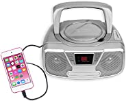 Riptunes Programmable CD Boombox- Portable Boombox AM/FM Radio, with Bluetooth Silver CDB232BT