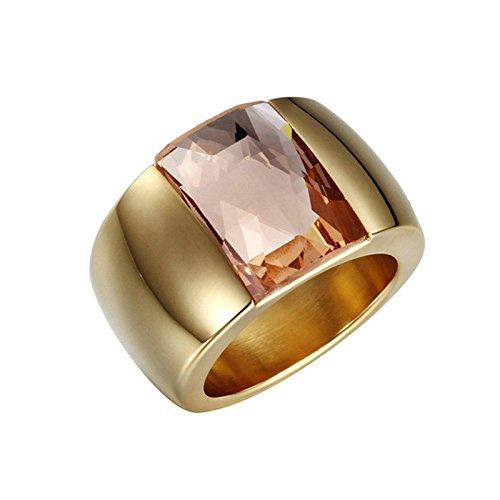 Beydodo Edelstahlringe Damen mit Champagner Zirkonia ChampagnerEhering Hochzeitsringe Verlobung Ring Gold Größe 57 (18.1) (Medusa Kostüm Bilder)