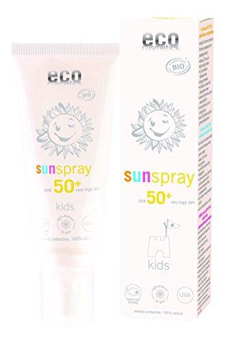 eco cosmetics Kids Sunspray LSF50+, wasserfest, vegan, ohne Mikroplastik, Naturkosmetik für Gesicht und Körper, 1 x 100 ml