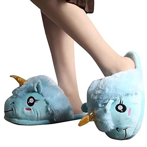 thematys Einhorn Plüsch Haus-Schuhe für Kinder & Erwachsene - komfortable und Kuschelige Pantoffeln - Einheitsgröße 36-44 (Blau)