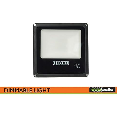 Ecobelle® 1 x Foco Proyector LED 20W 1600 Lúmenes (Igual a 100W Halógeno) para Illuminatión Exterior con Intensidad Regulable, Cristal Satinado, IP66, 6000K Luz Color Blanco