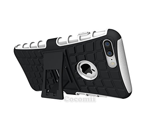 iPhone 8 Plus / 7 Plus Coque, Cocomii Grenade Armor NEW [Heavy Duty] Premium Tactical Grip Kickstand Shockproof Hard Bumper Shell [Military Defender] Full Body Dual Layer Rugged Cover Case Étui Housse White