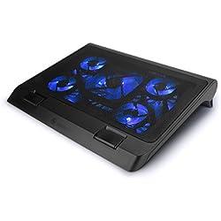 """ENHANCE Support Refroidisseur PC Portable (40 x 32.4 cm) - Plaque de Refroidissement Equipée de 5 Ventilateurs avec LED Bleues & 2 Ports USB - Compatible avec Ordinateur Portable & Notebook de 19"""""""
