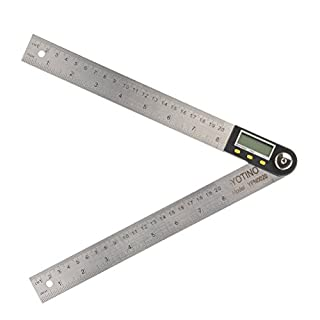 YOTINO 200MM Digital Angle Ruler with LCD Display 360°Angle Finder Metric & Imperial Protractor Gauge Ruler (with Button Battery)