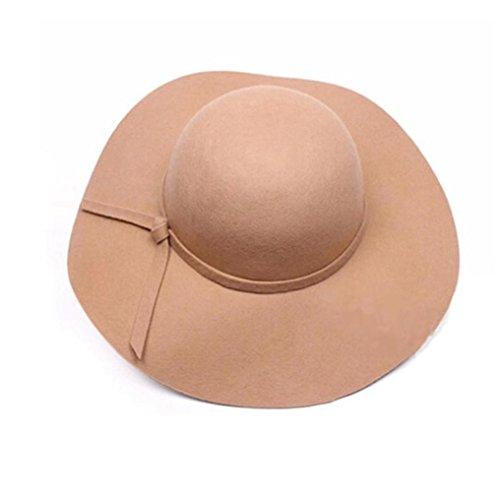 oraMe Frauen Sonnenhüte wolle breiten rand Hüte Winter Warme Fischerhüte Floppy Cloche Brim Filz Bowler Fedora Hut (Kamel) (Filz Fedoras)