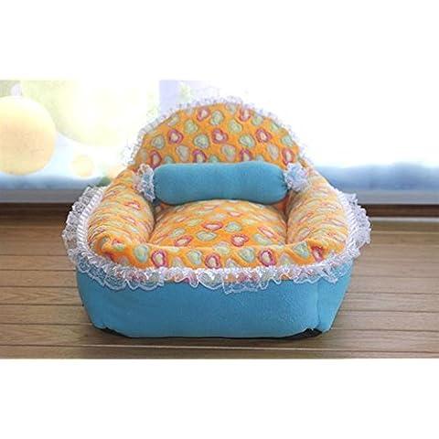 ZZHH Letti per cani principessa pizzo cane casa cane pizzo di divano gatto lettiera gatto divano Princess nido per inviare piccoli cuscini , yellow ,