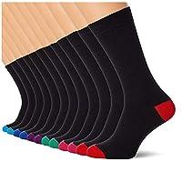 FM London heren (pak van 12 stuks) sokken, zwart (Heel And Toe), 39-45 EU (fabrikantmaat: UK 6-11)