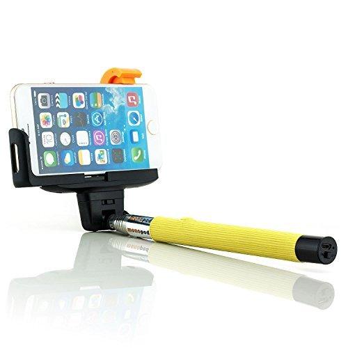 Bluetooth Selfie Stick Bastoni [Saxonia] Giallo | Universale Monopiede Smartphone Telecomando / Scatto Remoto Wireless con Asta Estendibile