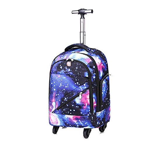 uhuihio Double Shoulder Pull Rod Bookbag Universal Wheel Pull Rod Double Shoulder Backpack Business Travel Bag Pull Rod Bag 18 Zoll/Generation II -