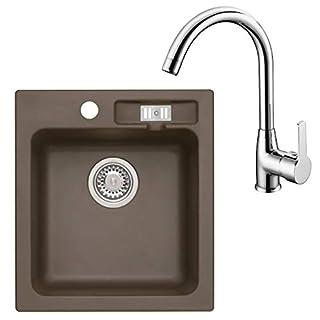 Granitspüle & Armatur Küchenspüle Malibu 20 Hochdruckarmatur Puro Chrom (AXIS DARK CHOCOLATE)