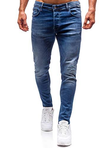 BOLF Herren Jeanshose Freizeit-Hose Casual Style Breezy 7159 Dunkelblau 30 [6F6] | 05902646948874