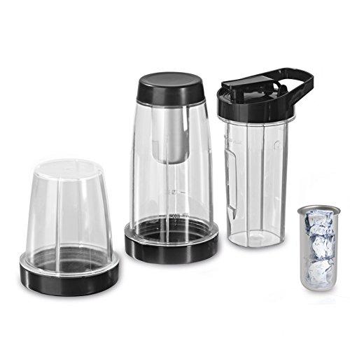 Gourmet Maxx 00620–Juego de vasos (7piezas) Incluye 600ml de to go–Vaso para Nutrition Licuadora con función de calor, 2.1L, transparente