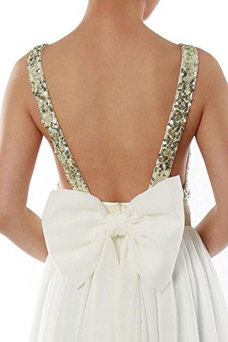 MACloth Women V Neck Sequin Long Prom Dress Wedding Party Formal Evening Gown Dark Green