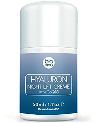 Hyaluron Face Lift Night Cream - Anti Aging Facial Night Care Wrinkle Cream featuring vegan and natural ingredients including Peptides, Hyaluronic Acid, CoQ10, AHA, Glycolic Acid & Aloe 50ml from Bionura