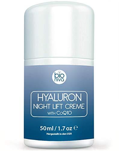 Hyaluronsäure Nachtcreme für das Gesicht. Bio Anti-Aging & Anti Falten Nachtpflege Feuchtigkeitscreme mit veganen Zutaten. Aloe Vera, Hyaluron, CoQ10, AHA, & Glykolsäure. Hochdosiert Testsieger. 50ml