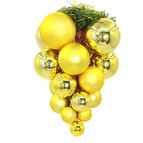 hlhn 6Weihnachtskugeln Christbaumkugeln Kugeln Farbe Party Xmas Tree Dekorationen zum Aufhängen Ornament Decor Festival Party Anhänger 6cm gelb