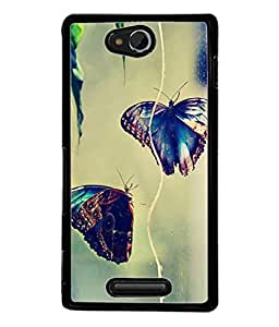 PrintVisa Designer Back Case Cover for Sony Xperia C (beautiful butterflies in the air)