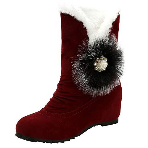 JERFER Frauen Wildleder Haarballen Runde Toe Wedges Schuhe halten warme Schneeschuhe