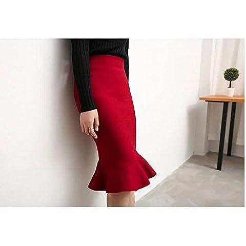 XJoel mujeres elegantes de cintura alta elástico que hace punto la falda del lápiz de la falda