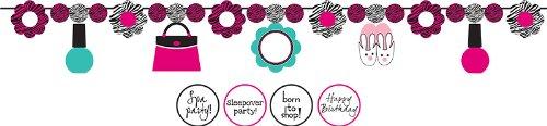 Creative Converting Pink Zebra Boutique Band Girlande mit Slumber Party Formen