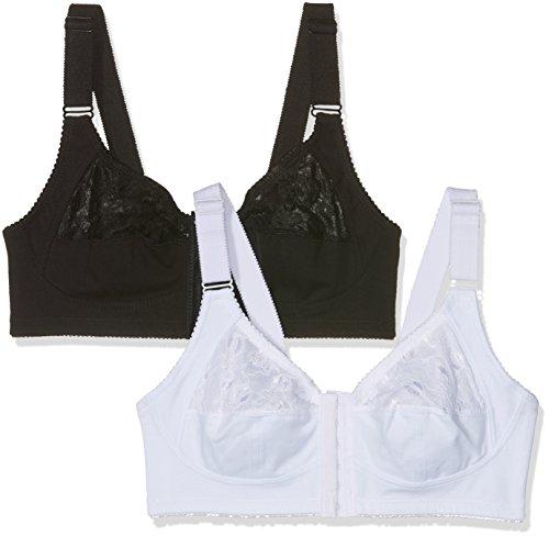 FM London Damen Bügelloser BH Front Fastening Comfort, 2er Pack, Weiß (Schwarz/Weiß), 95D (Demi Bra Lace-push-up)