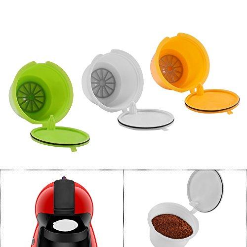 OurLeeme 3piezas 3Color Cápsula Reutilizable de Café, 3 piezas Recargables Cápsulas de Café Pods...