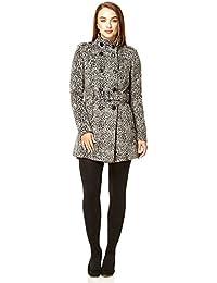 Anastasia Grey Funnel Neck Leopard Print DB Belted Winter Coat