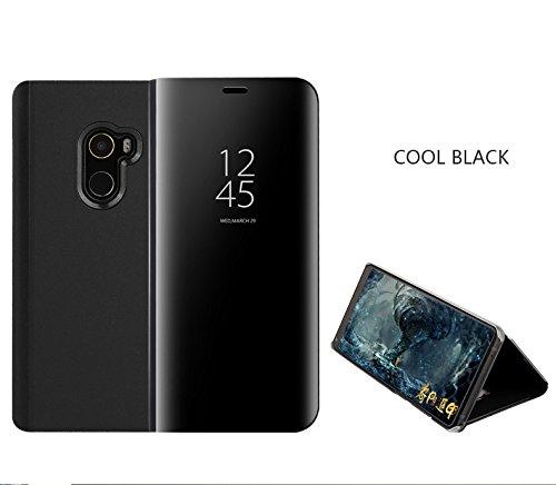 SHIEID Xiaomi Mi Mix 2 Hülle Spiegel Überzug Flip Hülle für Xiaomi Mi Mix 2-Schwarz