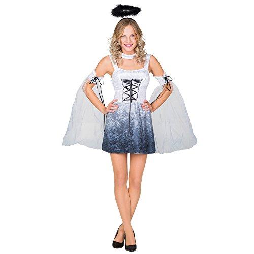 Frauenkostüm sexy Angel Pokerface | kurzes Kleid mit aufregender Schnürung an der Brust | inkl. Heiligenschein, Oberarmstulpen & Halsband (M | Nr. 300251) (Böse Königin Kostüm Ideen)