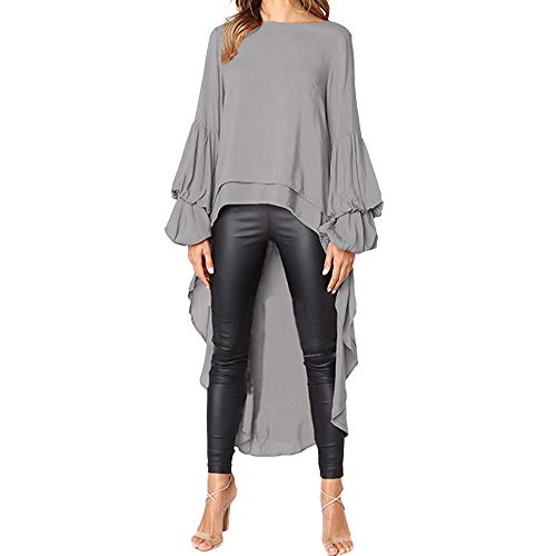 Layered Rüschen Top (Bluse Damen Herbst Übergröße Shirts Unregelmäßige Rüschen T-Shirt Langarm O-Ausschnitt Sweatshirt Pullover Tops Oberteil Langarmshirt Langshirt Tunika S-3XL)