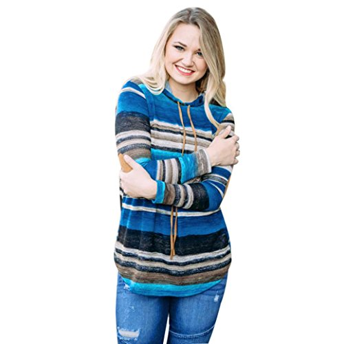 Damen Kapuzenpullover Hoodie Sweatshirt Langarm Hoodie Gestreifte Bluse Sweatshirt Pullover Tops (Blau-Sexy, XL) (Gestreifte Top Hoodie)