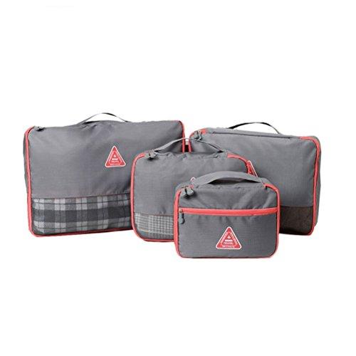 Amybria 4 Stück Kleidertaschen Wasserdichte Packsäcke Kofferorganizer Gepäck Kompression Beutel Reisetaschen in Koffer Grau