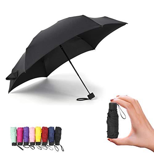SVNA Mini Regenschirm Verbesserte Version des Mini Lightweight Travel Sunscreen Rainproof Umbrella für Männer und Frauen,Black