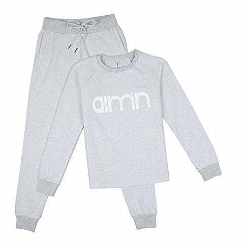 JY fashion ladies sports sweater sweatshirt sport + Sweatpants Détendu Ensemble complet (S, Gris)