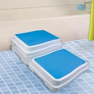 UPP 10 cm Badezimmer-Stufe stapelbar & erweiterbar | Belastbar bis 189 kg | Tritthocker für Senioren o. Kinder | Anti-Rutsch Trittstufe fürs Bad | Hocker für Badewanne & Dusche