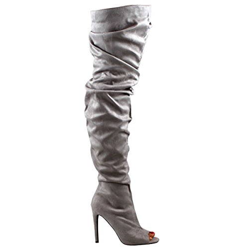 Vestito Da Le Toe Donne Coscia Capolino Viva Stiletto Slouch Modo Stivali Grigio Con Alta TBfItqfnr