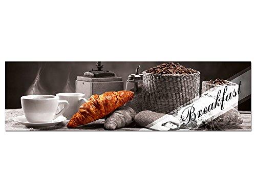 GRAZDesign Acrylglasbilder Küche Wandbild Breakfast Frühstück Kaffee Croissant - für Esszimmer Bar - Küchebilder als Dekoration - Glasbild aus Acryl / 180x50cm / 100444_004_01_04