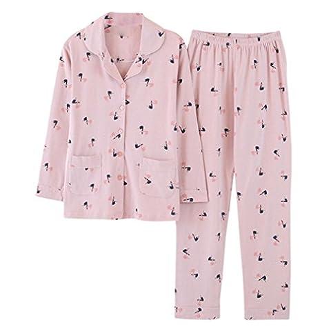 MOXIN Lange hülse dame pyjamas baumwolle druck home service 2 sätze warm halten , xl (100% pure cotton) , pink