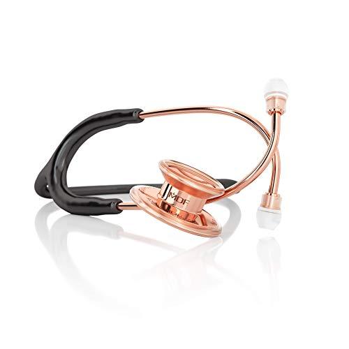 MDF® MD One - Premium Zweikopf-Stethoskop aus rostfreiem Stahl - Gratis-Parts-for-Life & Lebenslange-Garantie - Schwarz Roségold (MDF777RG-11)