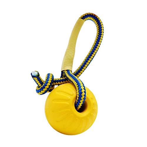 NaiCasy 1 PCS irrompibles Bolas de EVA sólida Cadena de Juguetes para Mascotas Adiestramiento de Perros Chew Bola de Jugar a la Pelota morder Juguetes Amarillos y Accesorios para Perros