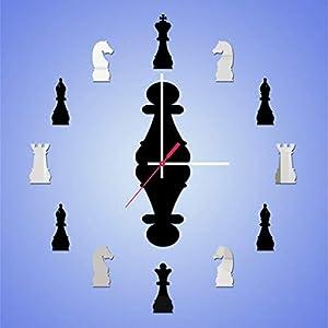 Reloj de ajedrez de bricolaje autoadhesivos, 3D sin marco gigante de arte de la pared efecto de espejo digitales adhesivos de pared de cuarzo de acrílico Decoración