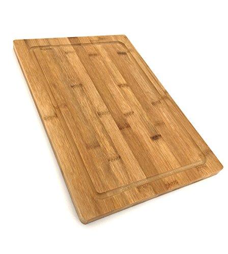 Tabla de cortar de bambú reversible / tabla de cortar antibacteriana / 37 x 25 x 2,1 cm / madera / talla / tablero de cocina / desayunador / bambú / tabla de cortar ...