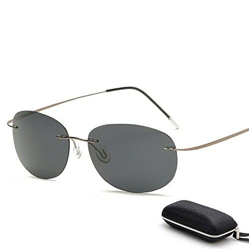 MinegRong Fall polarisiert Titan Silhouette Sonnenbrillen Polaroid Marke Designer Gafas Männer runde Sonnenbrille Sonnenbrille für Männer, ZP3225 mit Case C6
