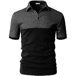 Cenizas Men's Cotton Half Sleeves Polo T-Shirt (Black-Grey, Large)