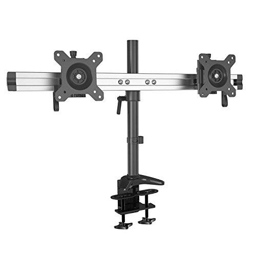 HFTEK 2-Fach-Monitorarm - dual - Halterung Halter Tischhalterung für 2 Bildschirme von 15 - 27 Zoll mit Klemmsystem - VESA 75/100 (MP220C-L) -