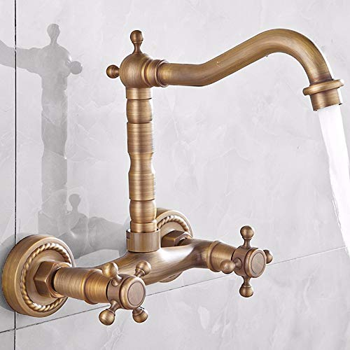 Zwei Wand-waschmaschinen-licht (LHbox Im europäischen Stil, Kupfer, Badezimmer, in die Wand, Waschbecken, Waschmaschine, Warm und Kalt, Zwei Waschbecken, Armaturen, 2)