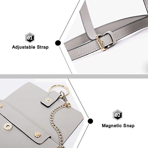 Sacchetti di catena dellanello circolare per Yoome Casual Bag per Ragazze Borse Vintage per Donne Crossbody - Marrone Grigio